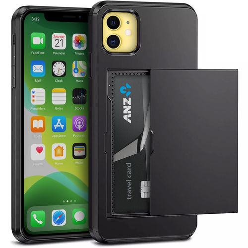 Tough Armour Card Holder & Slide Case for Apple iPhone 11 - Black